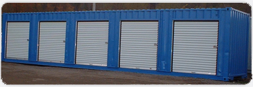 Roll-up doors on a painted container