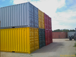 Used containers painted in fashion colours