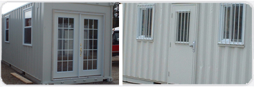 Different types of doors installed into container