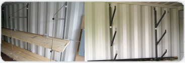 Sample of hanging pipe shelving and standard shelving