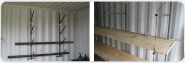 Hanging pipe shelves and 20 inch or 24 inch standard shelves